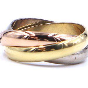 18k Trinity White Yellow Rose Gold 52 5.25 Ring
